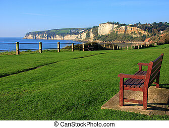 Beer headland from Seaton - A view of Beer headland in Devon...