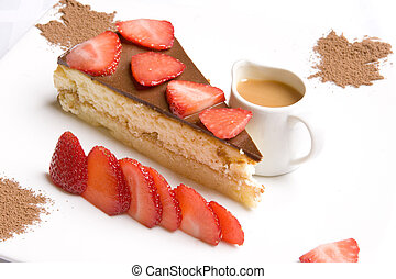 Chocolate pie decorated with strawberry  and served with caramel sauce on white plate