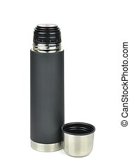 A Thermos Flask - An unbreakable thermos flask on a white...