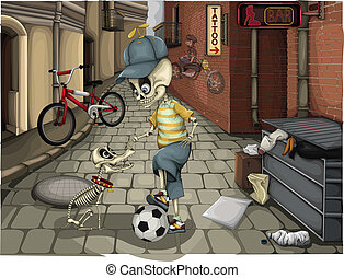 Street skeletons vector