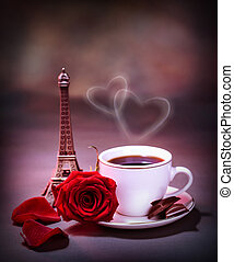 Morning drink in Paris - Picture of white cup with coffee...