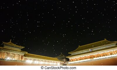 Panoramic of Beijing Forbidden City palace night in winter...