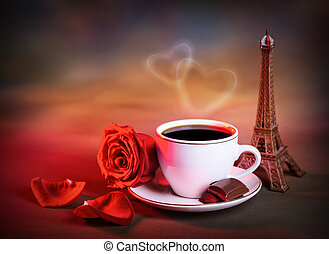 Morning tea in Valentine day - Picture of white cup with...