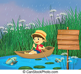 A river and a smiling boy in a boat - Illustration of a...