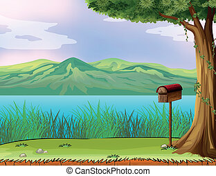 A letter box and a beautiful river - Illustration of a...