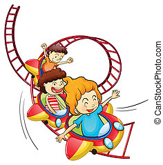 Three children riding in a roller coaster - Illustration of...