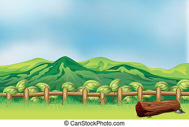 A mountain view across a wooden fence - Illustration of a...
