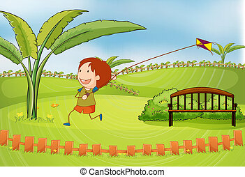 A boy playing kite - Illustration of a boy playing kite in a...