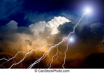 Lightnings in sunset sky - Dramatic background - lightnings...