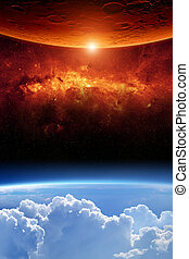 Two planets - Abstract scientific background - planet earth...