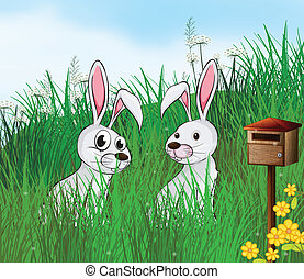 Rabbits near the mailbox - Illustration of rabbits near the...