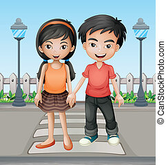 Two teenager holding hands together - Illustration of two...