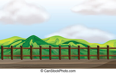 A bridge overlooking the mountain - Illustration of a bridge...