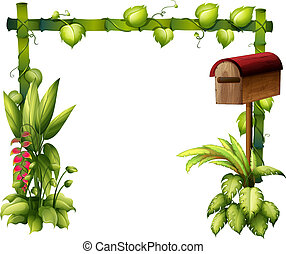 A letter box and plants - Illustration of a letter box and...