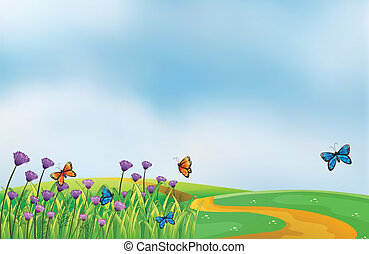 Violet flowers along the road - Illustration of violet...