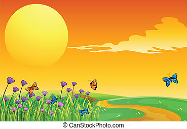 A full moon and the butterflies - Illustration of a full...