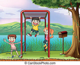 Kids playing monkey bar and a letter box - Illustration of...