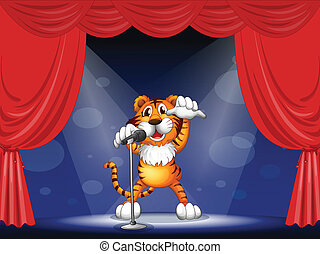 A tiger at the center of the stage - Illustration of a tiger...