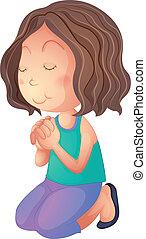 à, kobieta, modlący się