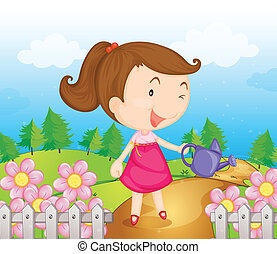A smiling girl with water can - Illustration of a smiling...