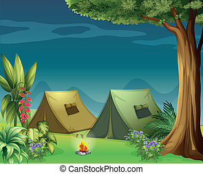 Tents in the jungle - Illustration of tents in the jungle