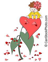 CÙte, pequeno, Coração,  -,  V, menina, vermelho