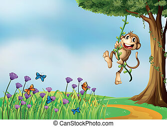 A monkey hanging on a vine plant - Illustration of a monkey...