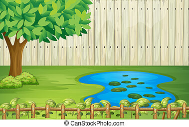 A tree, a pond and a beautiful landscape - Illustration of a...