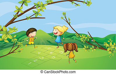 Kids playing near the mountain - Illustration of kids...