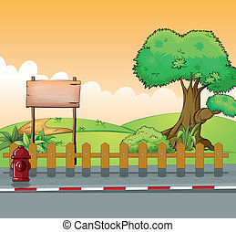 A wooden signboard and a big tree - Illustration of a wooden...