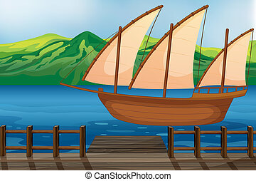 A wooden ship - Illustration of a wooden ship