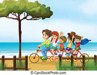 Happy kids and bicycle