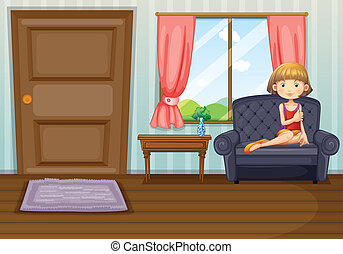 A girl in the living room