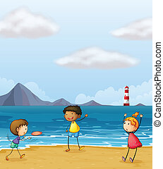 Children playing at the seashore - Illustration of children...