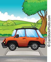 A running car - Illustration of a running car