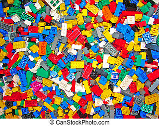 Multi-coloured blocks background - Toy multi-coloured blocks...