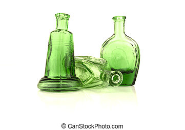 green bottles with white copy space