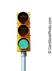 aislado, verde, tráfico, señal, luz