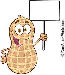 Peanut Holding Up A Blank Sign - Peanut Cartoon Mascot...