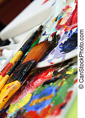 Art palette and paintbrushes - Beautiful vivid Art palette...