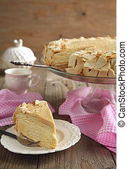 Cake Napoleon of puff pastry with cream