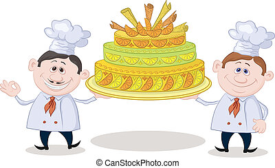 Cooks with holiday cake - Cartoon character cooks - chefs...