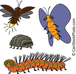 More Cartoon Bugs - Four common backyard garden bugs drawn...