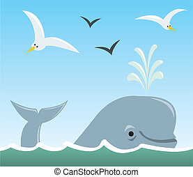 Whale and Seagulls - A group of cartoon animals commonly...