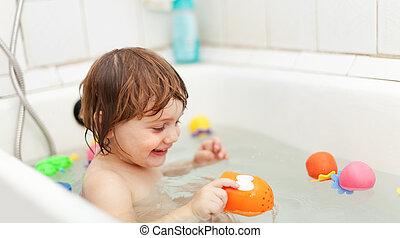 bebê, brinquedos, natação, banho