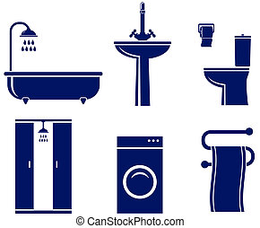 set of isolated bath objects on white background
