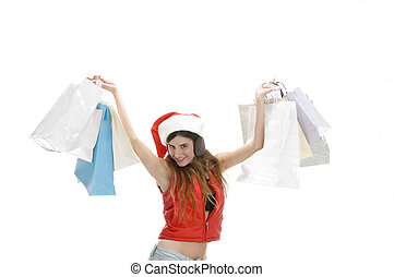 happy woman showing shopping bags with white background
