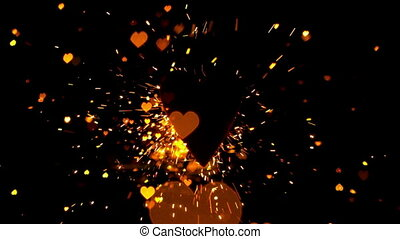 Golden confetti and sparks flying a