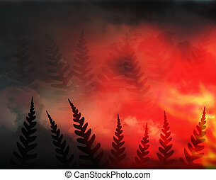Forest fire - Abstract illustration of a forest fire and...