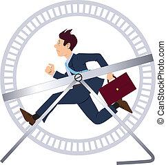 Running in a hamster wheel - Vector illustration of a...